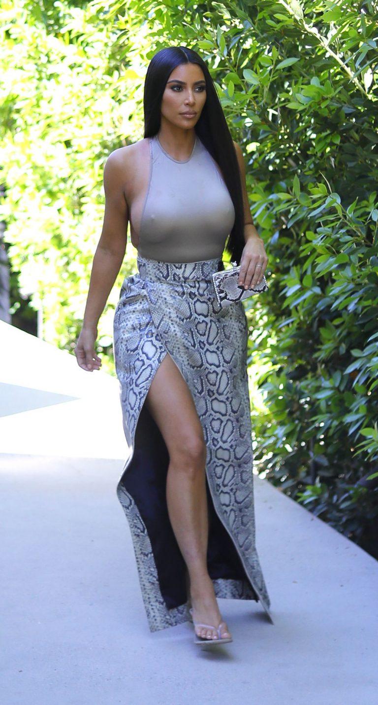 Kim Kardashian Braless Walk Outside