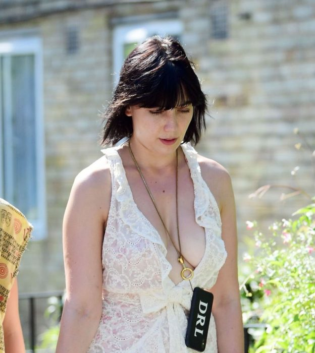 Daisy Lowe Braless Stroll With Her Dog