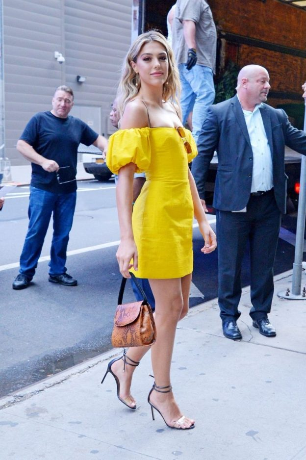 Sistine Stallone Sexy Yellow Dresss Photos