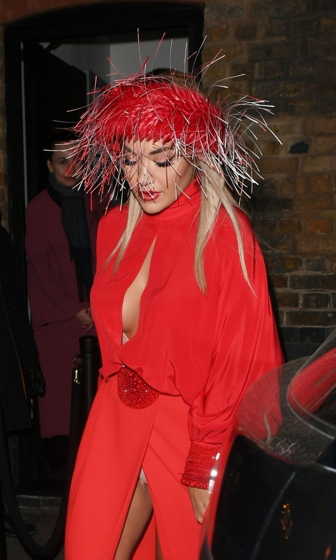 Rita Ora Sexy Pictures, Revealing Red Dress