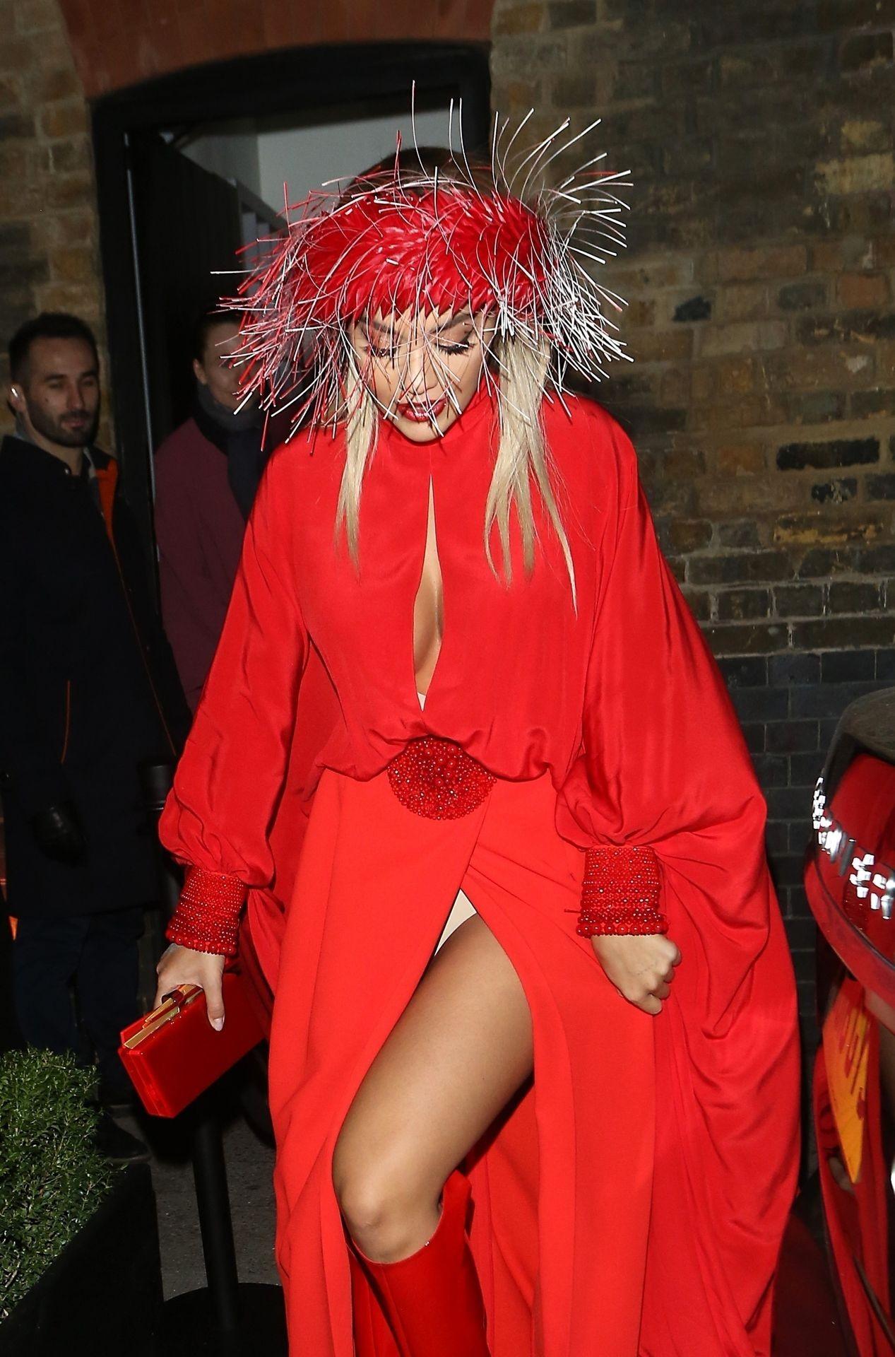 Rita Ora Sexy Pictures, Revealing Red Dress